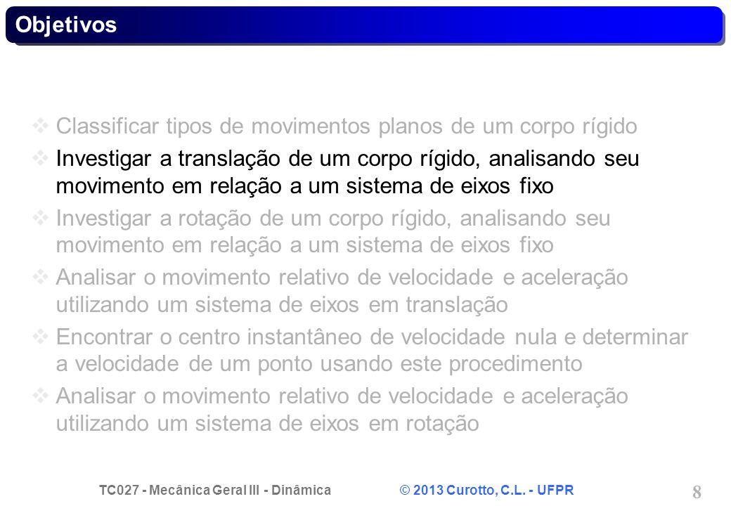 TC027 - Mecânica Geral III - Dinâmica © 2013 Curotto, C.L. - UFPR 8 Objetivos Classificar tipos de movimentos planos de um corpo rígido Investigar a t