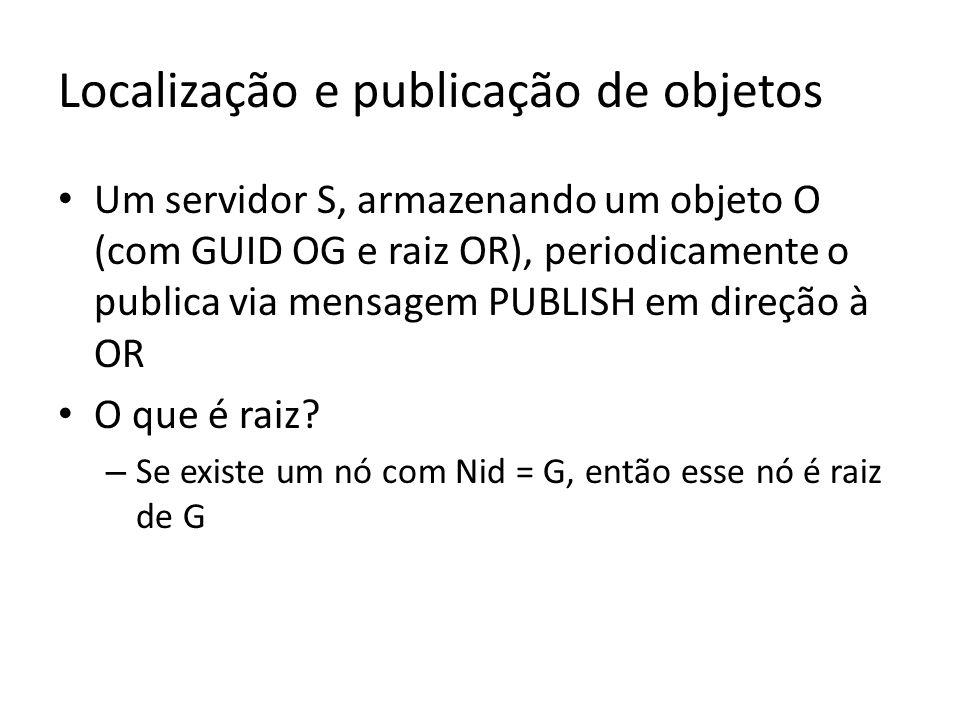 Localização e publicação de objetos Um servidor S, armazenando um objeto O (com GUID OG e raiz OR), periodicamente o publica via mensagem PUBLISH em d