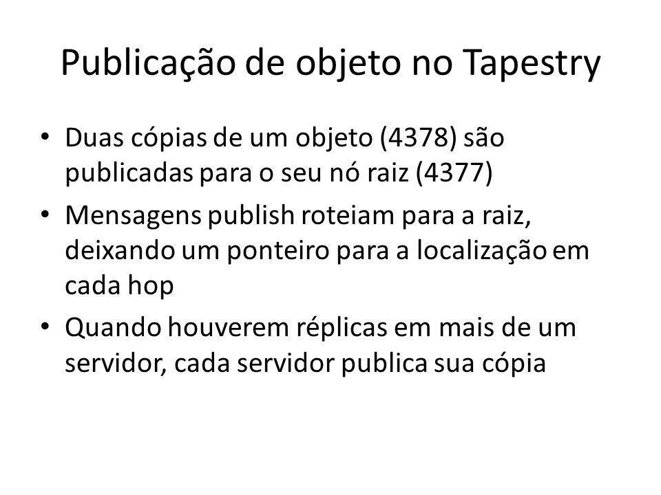 Duas cópias de um objeto (4378) são publicadas para o seu nó raiz (4377) Mensagens publish roteiam para a raiz, deixando um ponteiro para a localizaçã