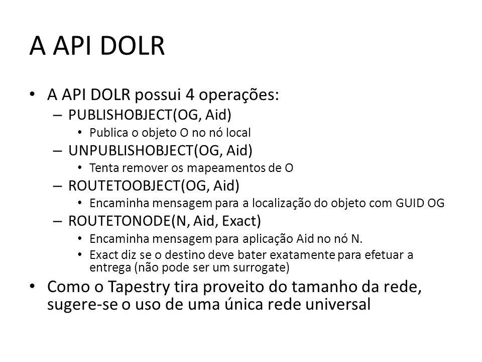 A API DOLR A API DOLR possui 4 operações: – PUBLISHOBJECT(OG, Aid) Publica o objeto O no nó local – UNPUBLISHOBJECT(OG, Aid) Tenta remover os mapeamen