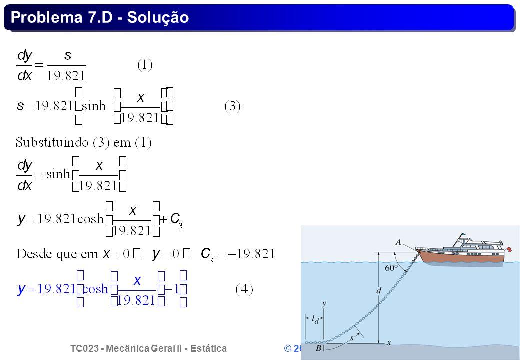 TC023 - Mecânica Geral II - Estática © 2013 Curotto, C.L. - UFPR 8 Problema 7.D - Solução