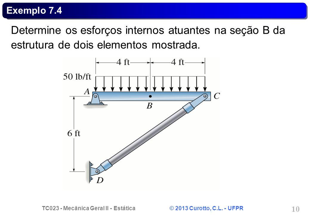 TC023 - Mecânica Geral II - Estática © 2013 Curotto, C.L. - UFPR 10 Exemplo 7.4 Determine os esforços internos atuantes na seção B da estrutura de doi