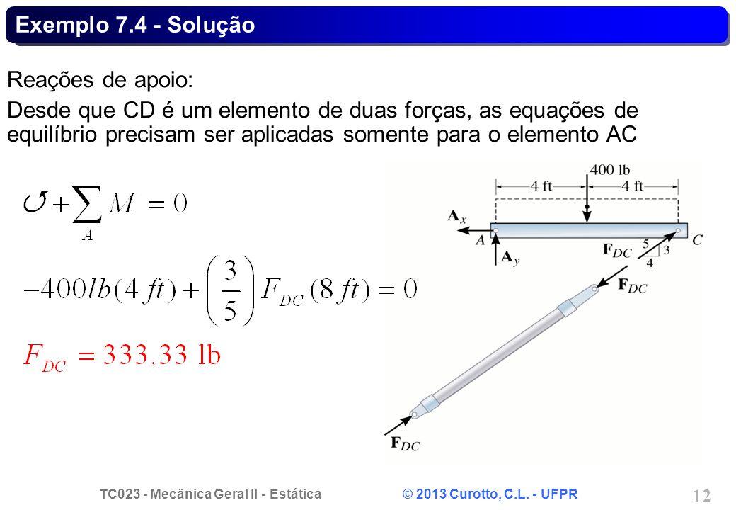 TC023 - Mecânica Geral II - Estática © 2013 Curotto, C.L. - UFPR 12 Exemplo 7.4 - Solução Reações de apoio: Desde que CD é um elemento de duas forças,