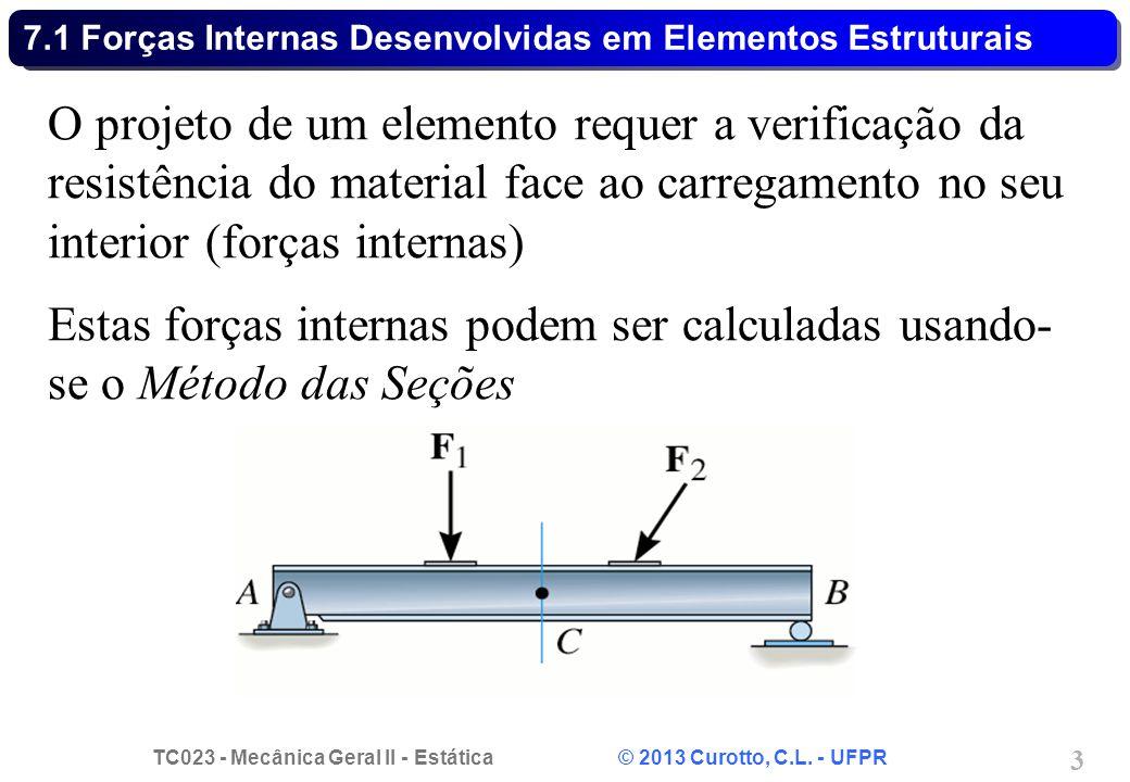 TC023 - Mecânica Geral II - Estática © 2013 Curotto, C.L. - UFPR 3 O projeto de um elemento requer a verificação da resistência do material face ao ca