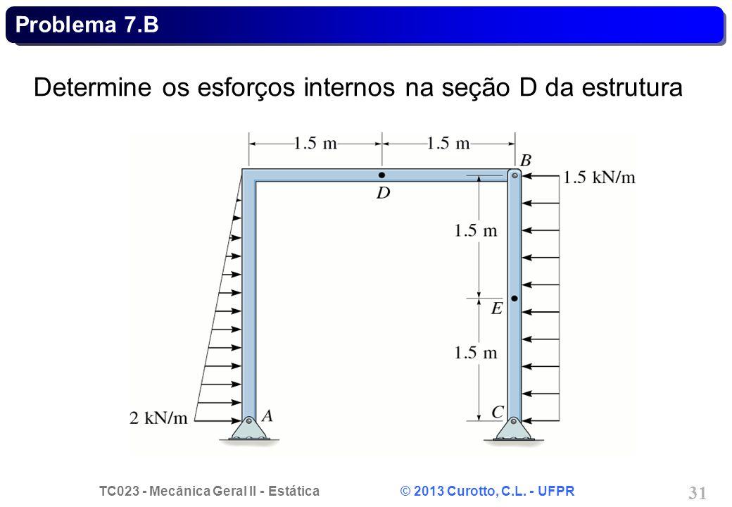 TC023 - Mecânica Geral II - Estática © 2013 Curotto, C.L. - UFPR 31 Determine os esforços internos na seção D da estrutura Problema 7.B