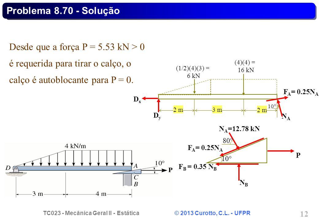 TC023 - Mecânica Geral II - Estática © 2013 Curotto, C.L. - UFPR 12 Desde que a força P = 5.53 kN > 0 é requerida para tirar o calço, o calço é autobl