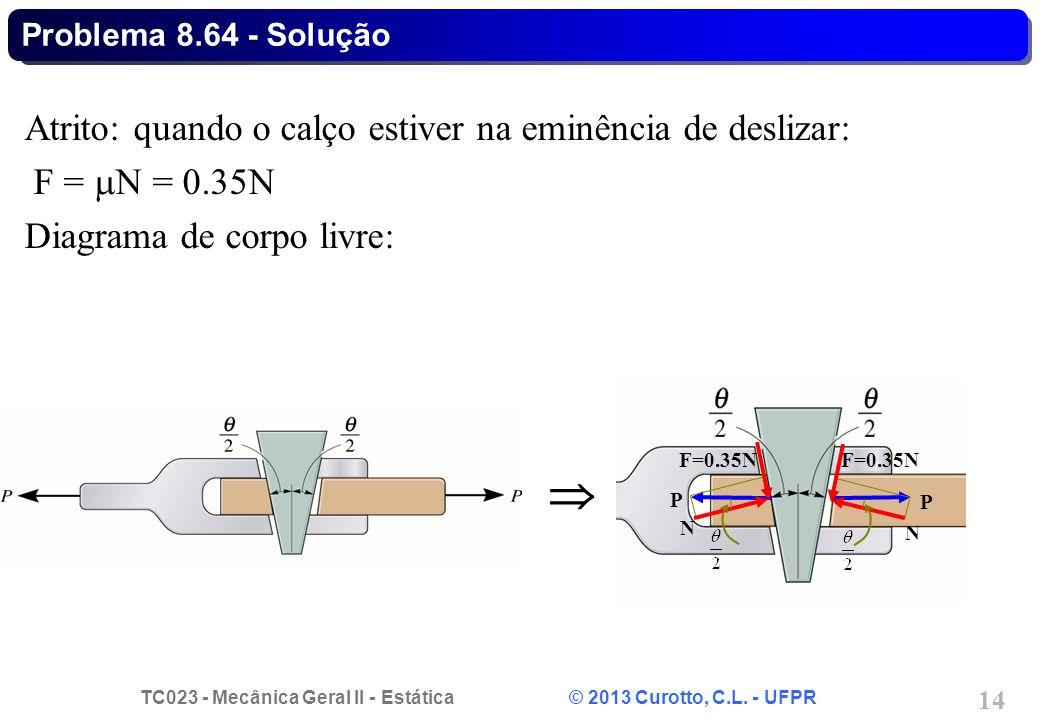 TC023 - Mecânica Geral II - Estática © 2013 Curotto, C.L. - UFPR 14 Atrito: quando o calço estiver na eminência de deslizar: F = N = 0.35N Diagrama de