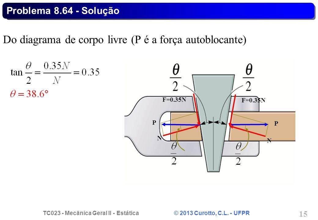 TC023 - Mecânica Geral II - Estática © 2013 Curotto, C.L. - UFPR 15 Do diagrama de corpo livre (P é a força autoblocante) Problema 8.64 - Solução P F=