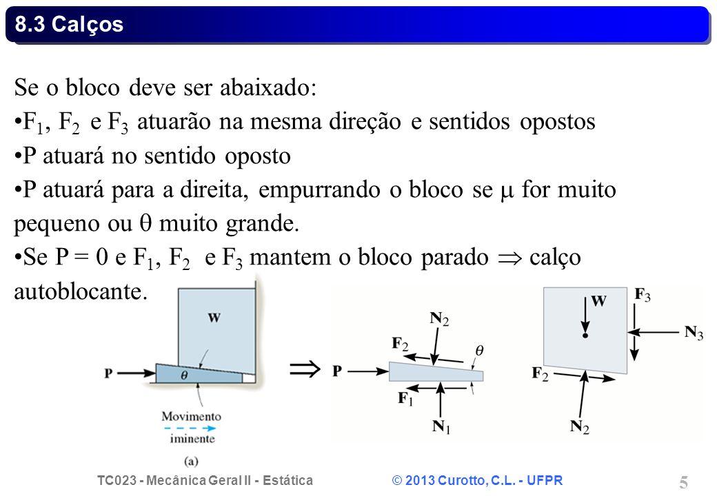 TC023 - Mecânica Geral II - Estática © 2013 Curotto, C.L. - UFPR 5 Se o bloco deve ser abaixado: F 1, F 2 e F 3 atuarão na mesma direção e sentidos op