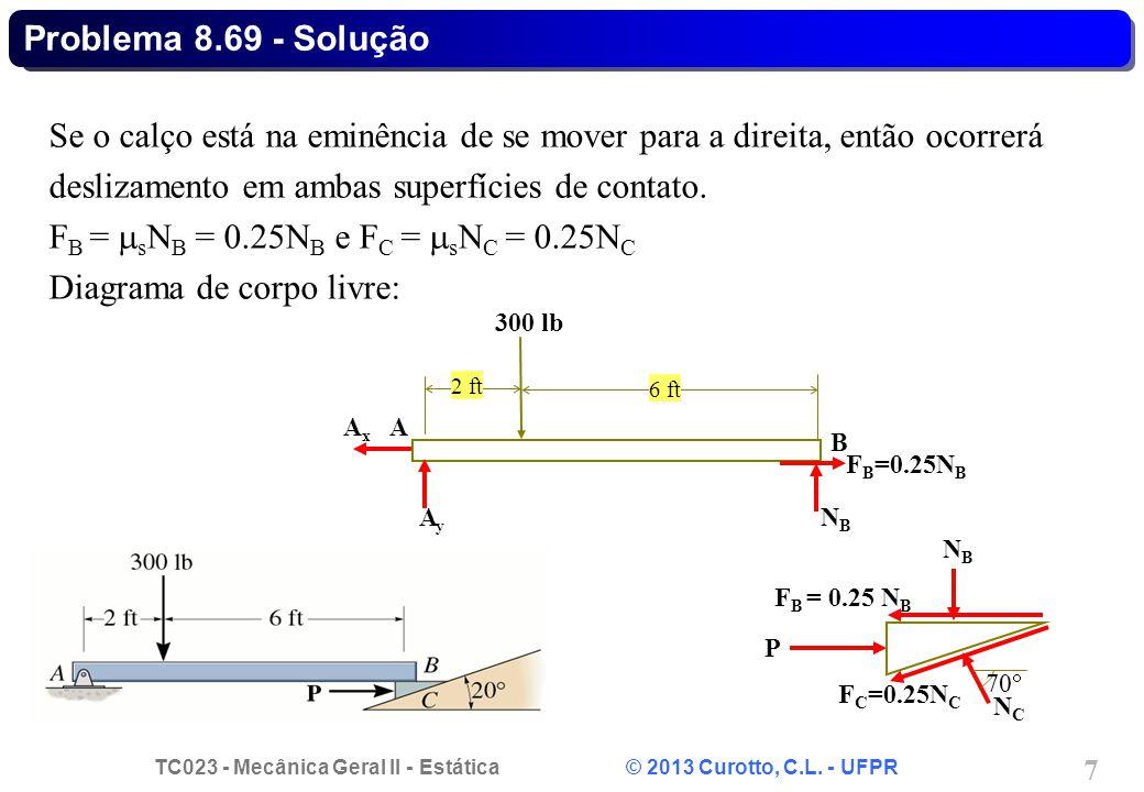TC023 - Mecânica Geral II - Estática © 2013 Curotto, C.L. - UFPR 7 Se o calço está na eminência de se mover para a direita, então ocorrerá deslizament