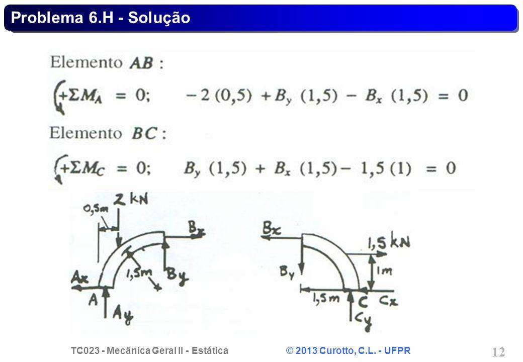 TC023 - Mecânica Geral II - Estática © 2013 Curotto, C.L. - UFPR 12 Problema 6.H - Solução