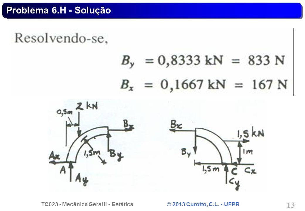 TC023 - Mecânica Geral II - Estática © 2013 Curotto, C.L. - UFPR 13 Problema 6.H - Solução