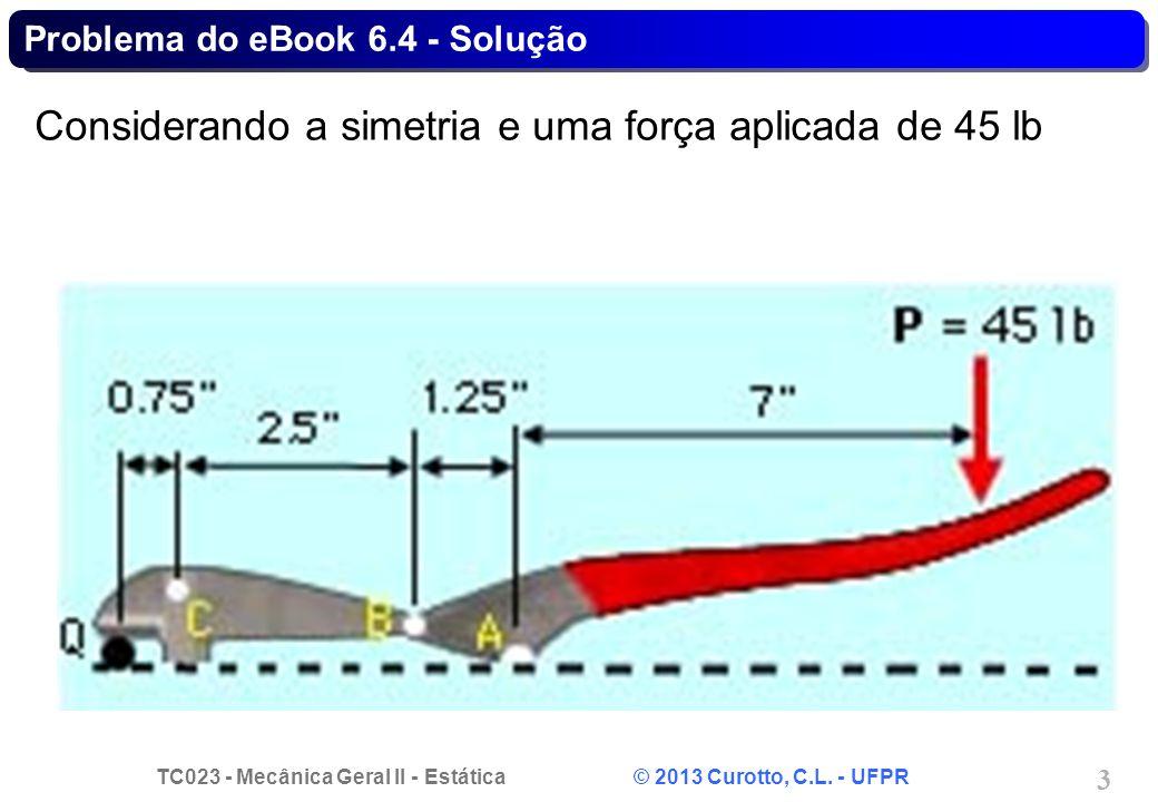 TC023 - Mecânica Geral II - Estática © 2013 Curotto, C.L. - UFPR 4 Problema do eBook 6.4 - Solução