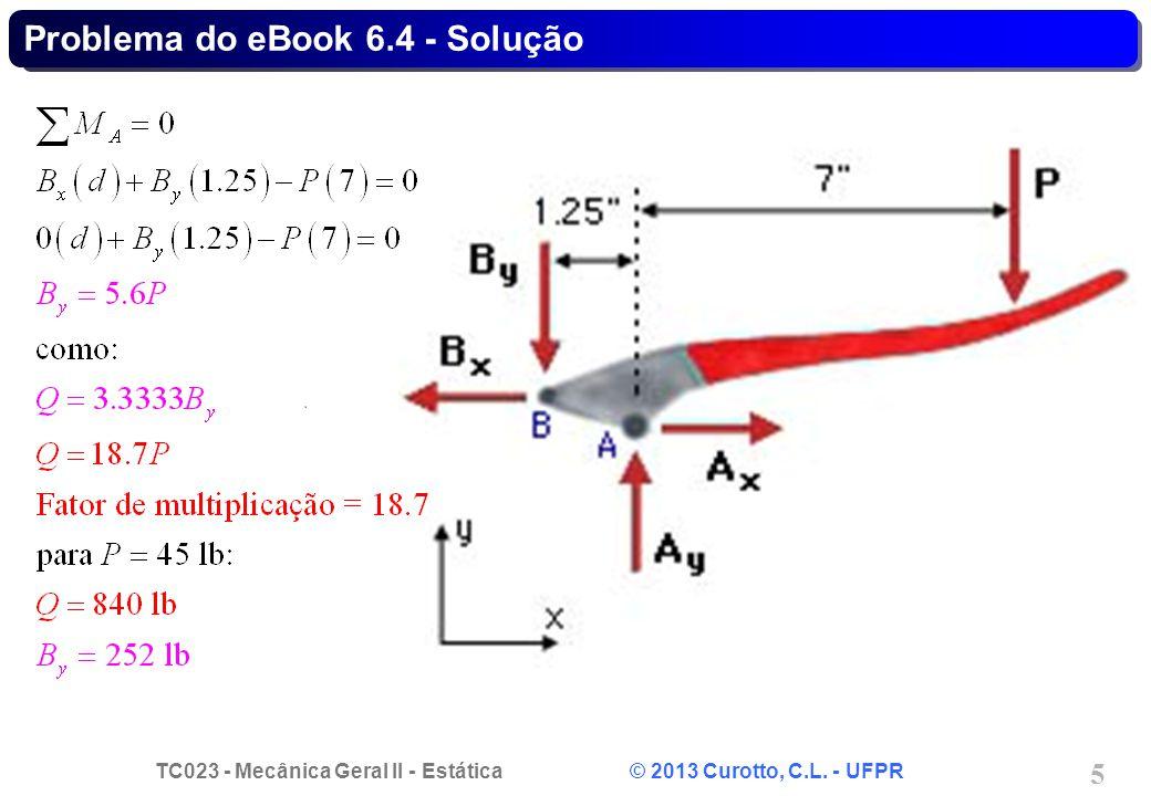 TC023 - Mecânica Geral II - Estática © 2013 Curotto, C.L. - UFPR 6 Problema do eBook 6.4 - Solução