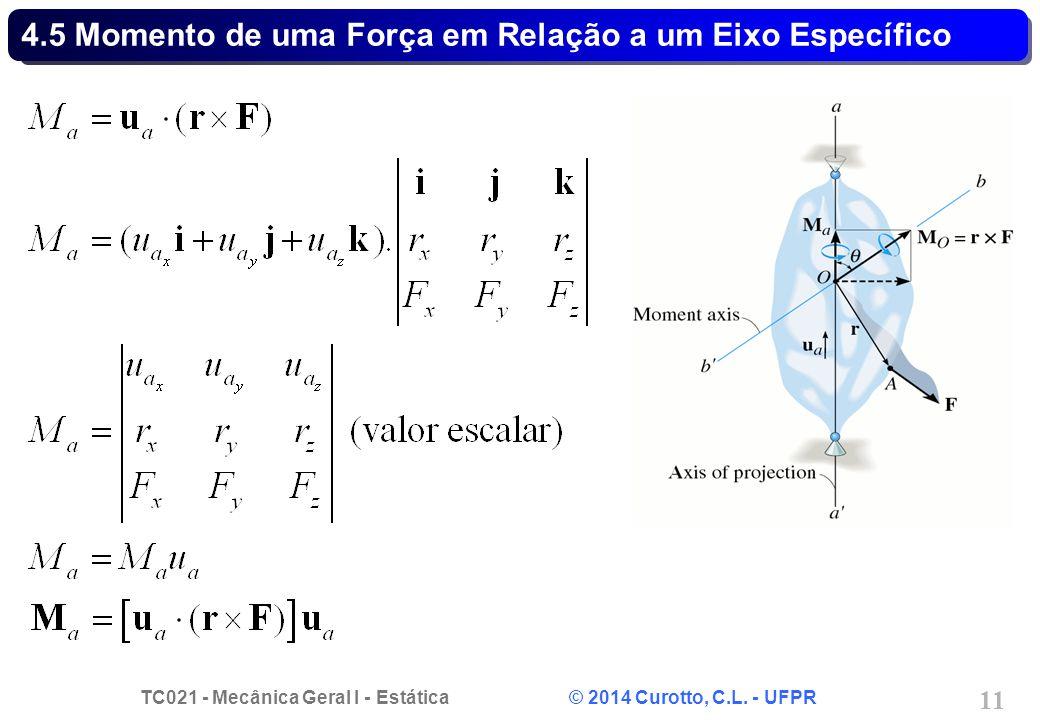 TC021 - Mecânica Geral I - Estática © 2014 Curotto, C.L. - UFPR 11 4.5 Momento de uma Força em Relação a um Eixo Específico