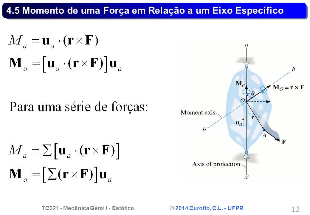 TC021 - Mecânica Geral I - Estática © 2014 Curotto, C.L. - UFPR 12 4.5 Momento de uma Força em Relação a um Eixo Específico