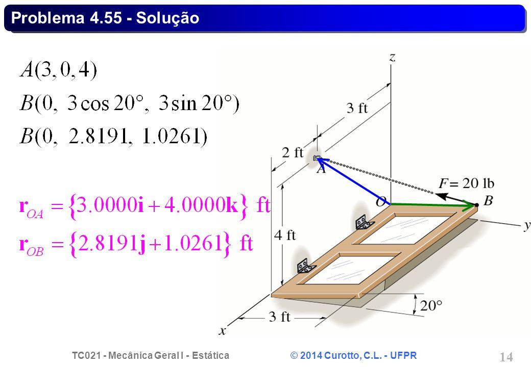TC021 - Mecânica Geral I - Estática © 2014 Curotto, C.L. - UFPR 14 Problema 4.55 - Solução