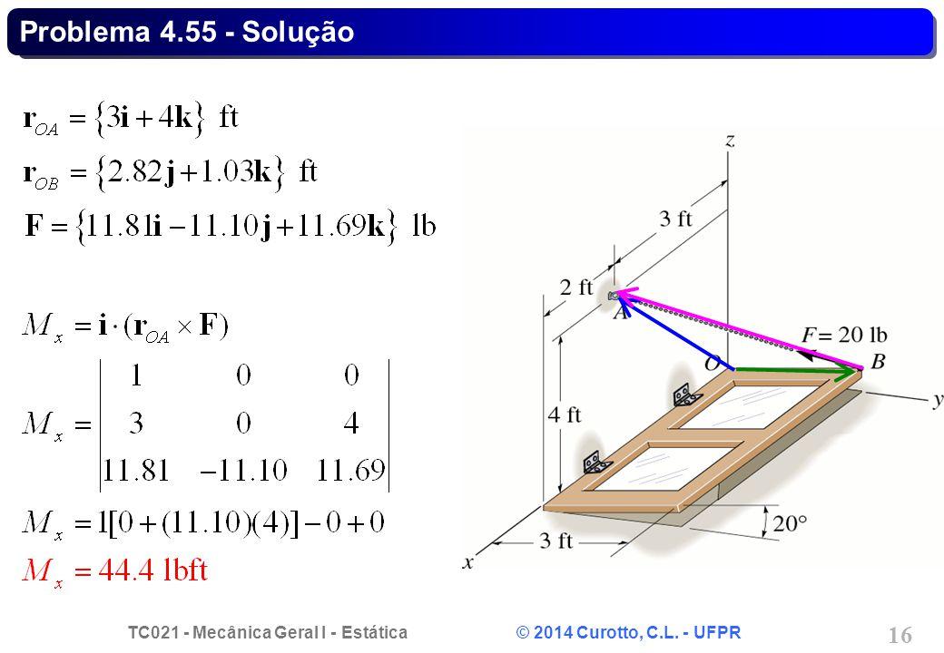 TC021 - Mecânica Geral I - Estática © 2014 Curotto, C.L. - UFPR 16 Problema 4.55 - Solução