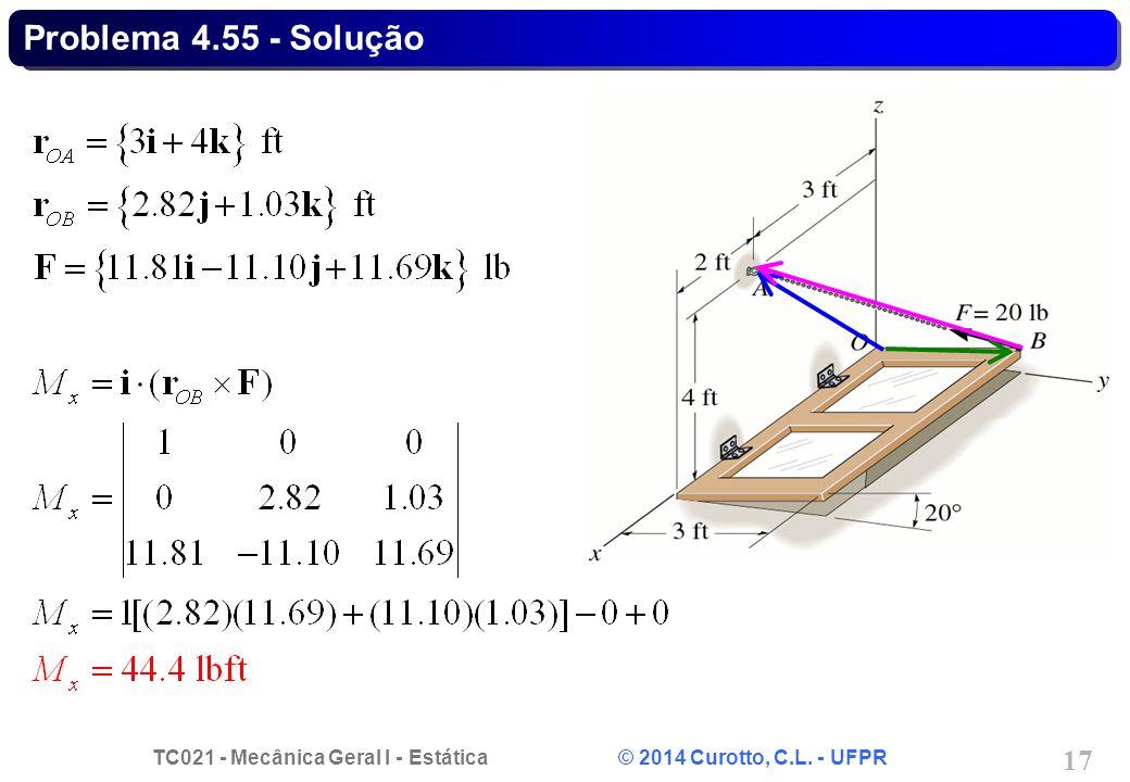 TC021 - Mecânica Geral I - Estática © 2014 Curotto, C.L. - UFPR 17 Problema 4.55 - Solução