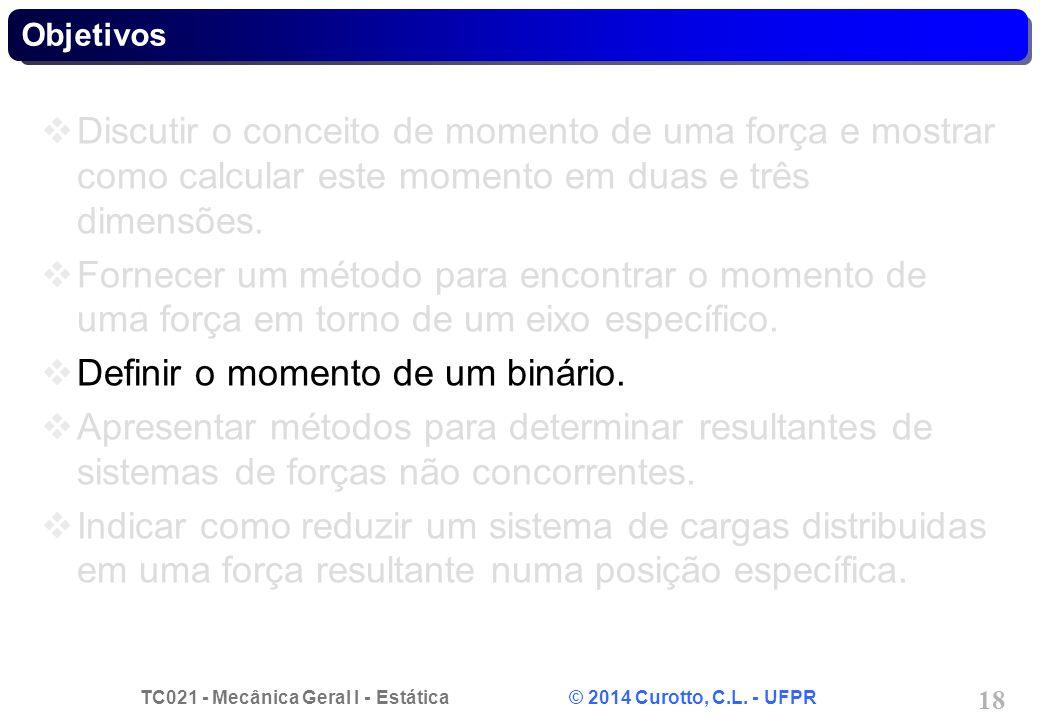 TC021 - Mecânica Geral I - Estática © 2014 Curotto, C.L. - UFPR 18 Objetivos Discutir o conceito de momento de uma força e mostrar como calcular este