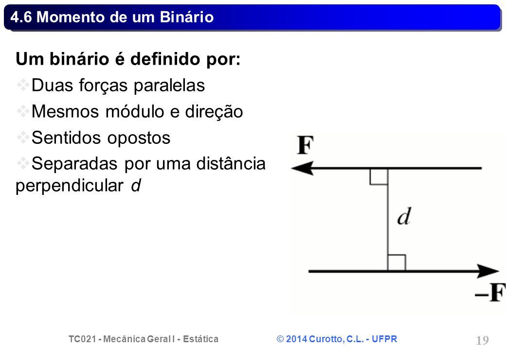 TC021 - Mecânica Geral I - Estática © 2014 Curotto, C.L. - UFPR 19 4.6 Momento de um Binário Um binário é definido por: Duas forças paralelas Mesmos m