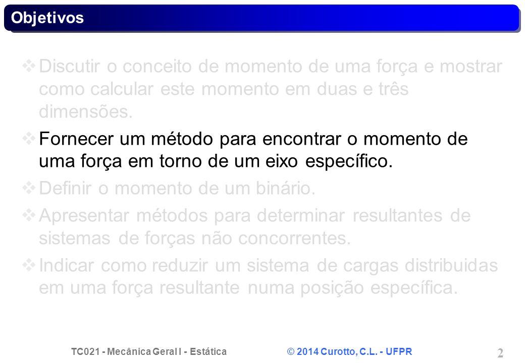 TC021 - Mecânica Geral I - Estática © 2014 Curotto, C.L. - UFPR 2 Objetivos Discutir o conceito de momento de uma força e mostrar como calcular este m