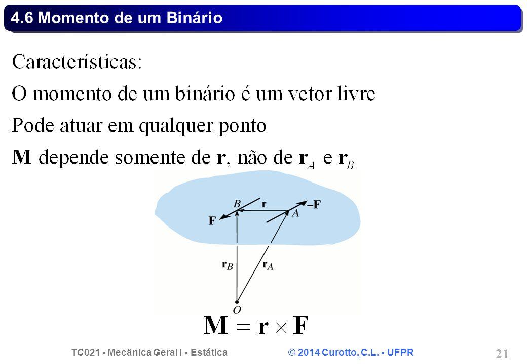 TC021 - Mecânica Geral I - Estática © 2014 Curotto, C.L. - UFPR 21 4.6 Momento de um Binário