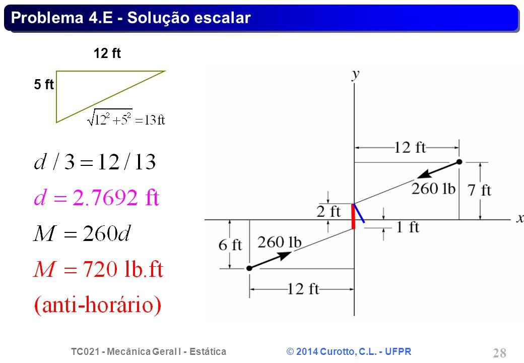 TC021 - Mecânica Geral I - Estática © 2014 Curotto, C.L. - UFPR 28 Problema 4.E - Solução escalar 12 ft 5 ft
