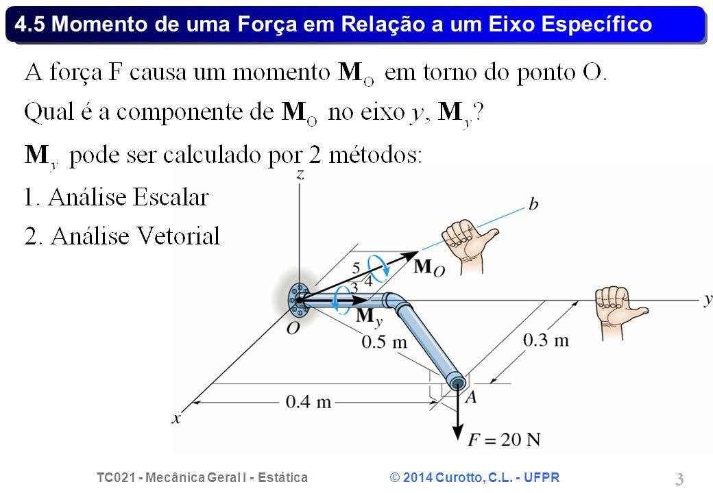 TC021 - Mecânica Geral I - Estática © 2014 Curotto, C.L. - UFPR 3 4.5 Momento de uma Força em Relação a um Eixo Específico