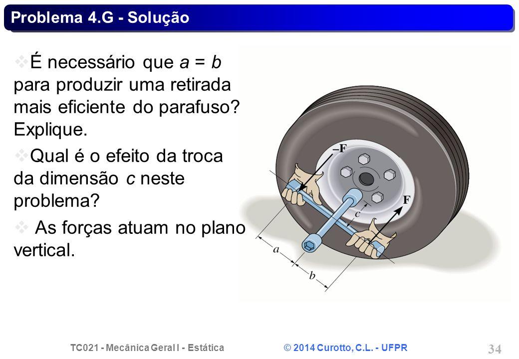 TC021 - Mecânica Geral I - Estática © 2014 Curotto, C.L. - UFPR 34 Problema 4.G - Solução É necessário que a = b para produzir uma retirada mais efici