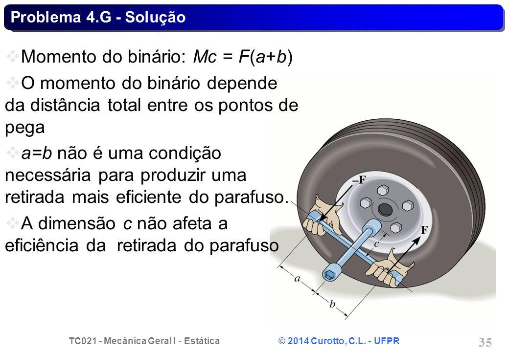 TC021 - Mecânica Geral I - Estática © 2014 Curotto, C.L. - UFPR 35 Problema 4.G - Solução Momento do binário: Mc = F(a+b) O momento do binário depende