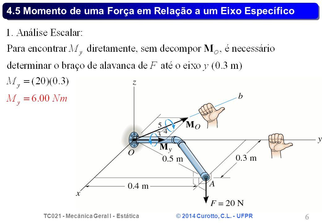 TC021 - Mecânica Geral I - Estática © 2014 Curotto, C.L. - UFPR 6 4.5 Momento de uma Força em Relação a um Eixo Específico