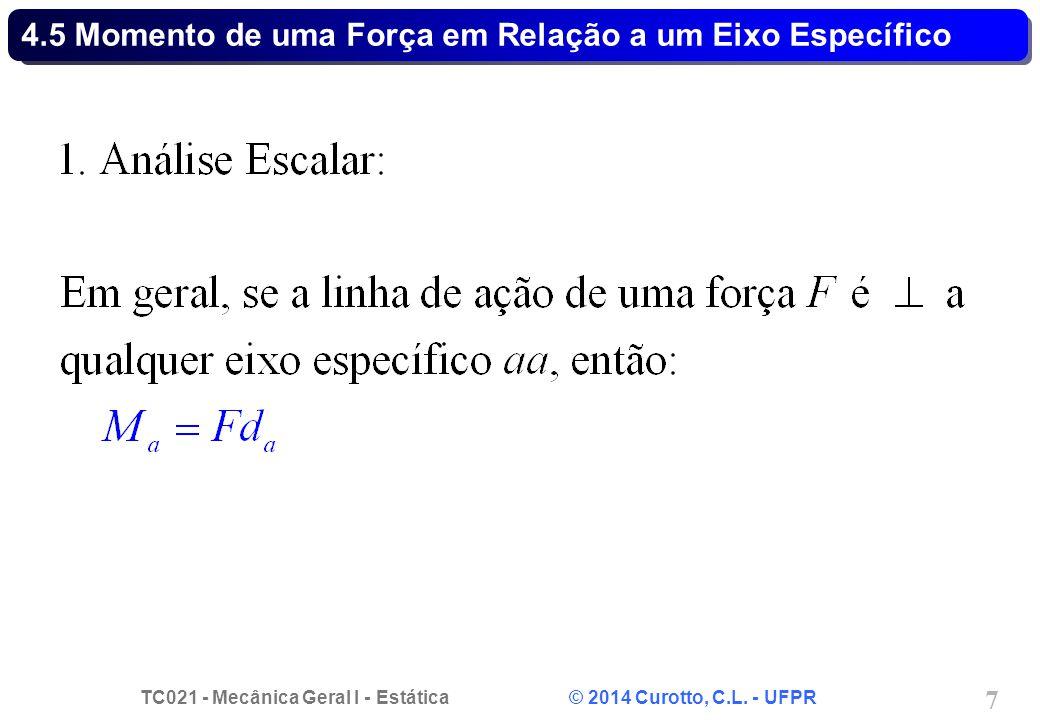 TC021 - Mecânica Geral I - Estática © 2014 Curotto, C.L. - UFPR 7 4.5 Momento de uma Força em Relação a um Eixo Específico