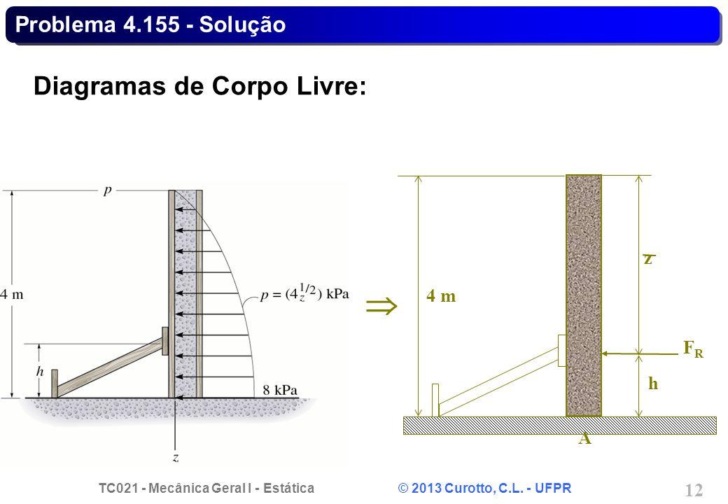 TC021 - Mecânica Geral I - Estática © 2013 Curotto, C.L. - UFPR 12 Problema 4.155 - Solução Diagramas de Corpo Livre: h z FRFR A 4 m