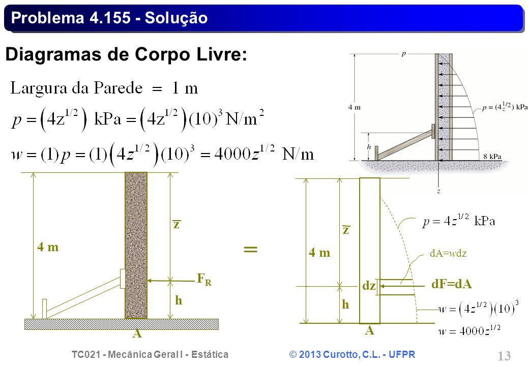 TC021 - Mecânica Geral I - Estática © 2013 Curotto, C.L. - UFPR 13 Problema 4.155 - Solução Diagramas de Corpo Livre: h z FRFR A 4 m h z dF=dA A 4 m d