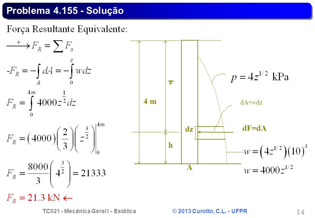 TC021 - Mecânica Geral I - Estática © 2013 Curotto, C.L. - UFPR 14 Problema 4.155 - Solução h z dF=dA A 4 m dA=wdz dz