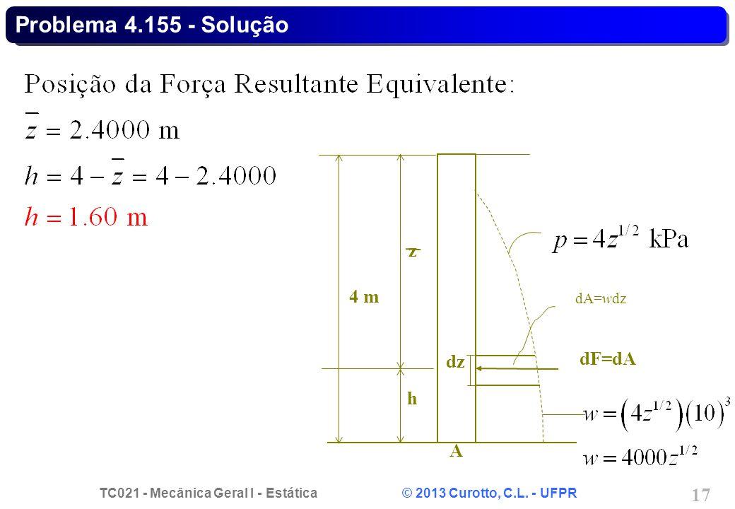 TC021 - Mecânica Geral I - Estática © 2013 Curotto, C.L. - UFPR 17 Problema 4.155 - Solução h z dF=dA A 4 m dA=wdz dz