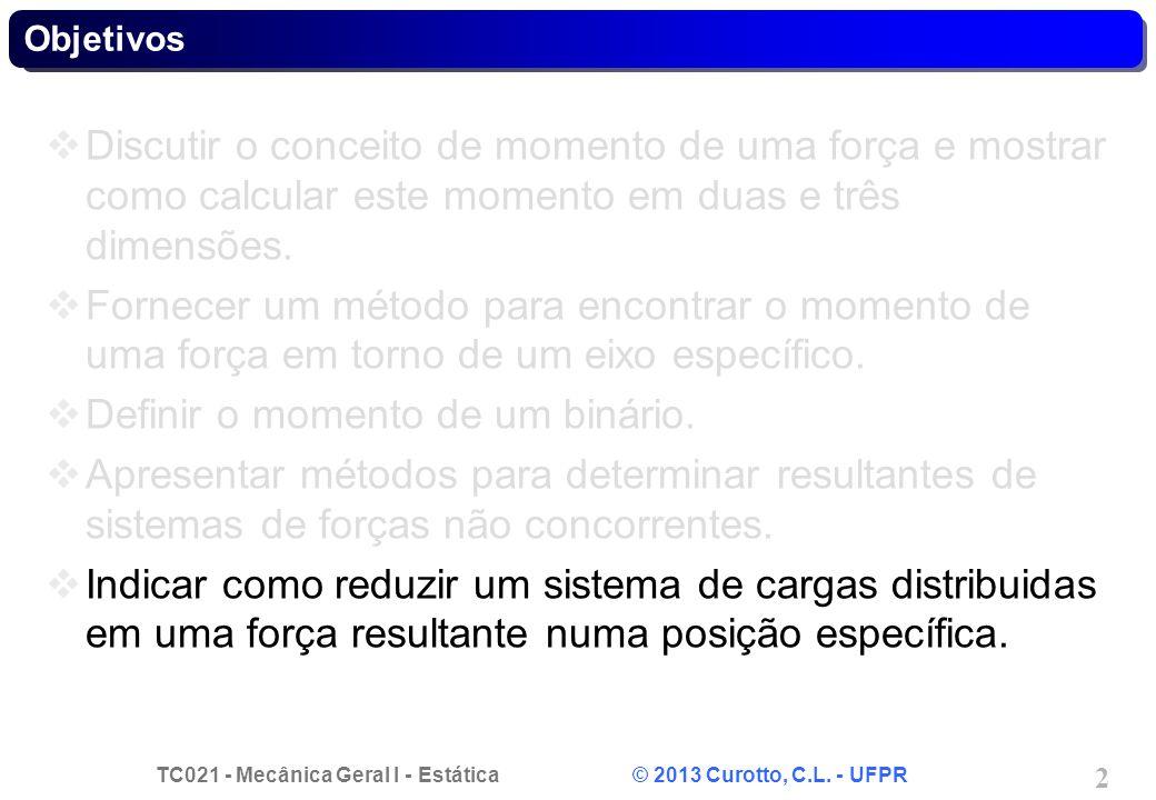 TC021 - Mecânica Geral I - Estática © 2013 Curotto, C.L. - UFPR 2 Objetivos Discutir o conceito de momento de uma força e mostrar como calcular este m