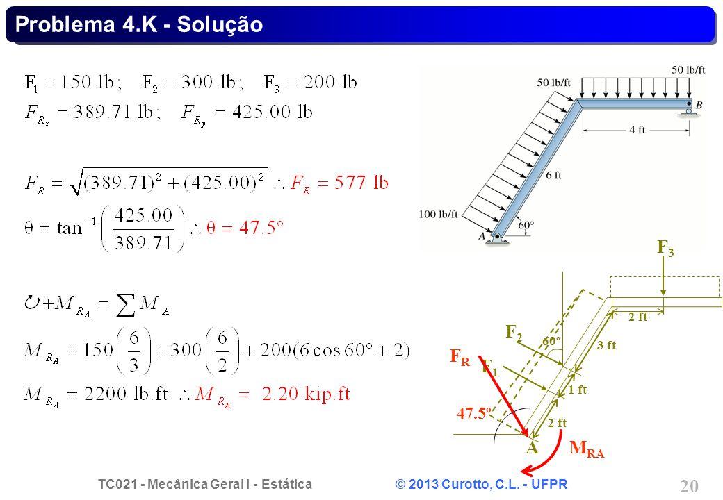 TC021 - Mecânica Geral I - Estática © 2013 Curotto, C.L. - UFPR 20 Problema 4.K - Solução 2 ft F1F1 F2F2 F3F3 A 60º 1 ft 2 ft 3 ft 47.5º FRFR M RA