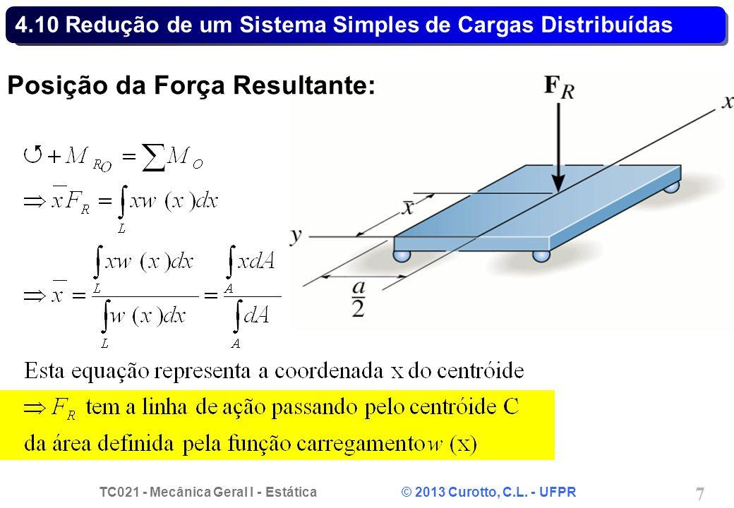 TC021 - Mecânica Geral I - Estática © 2013 Curotto, C.L. - UFPR 7 4.10 Redução de um Sistema Simples de Cargas Distribuídas Posição da Força Resultant