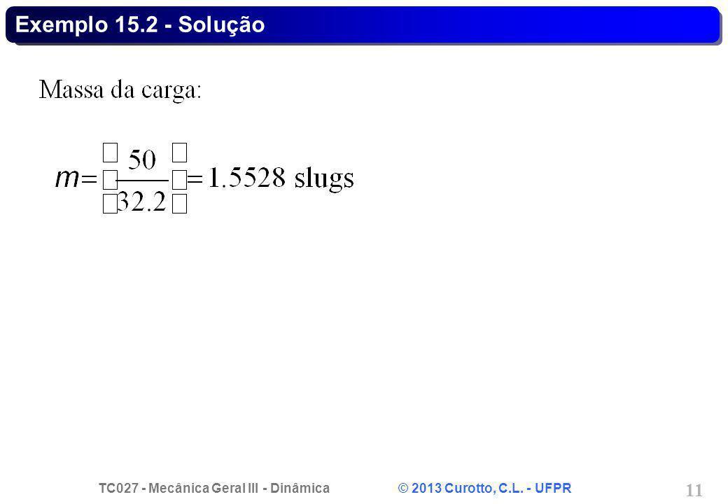 TC027 - Mecânica Geral III - Dinâmica © 2013 Curotto, C.L. - UFPR 11 Exemplo 15.2 - Solução