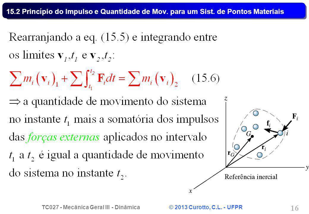 TC027 - Mecânica Geral III - Dinâmica © 2013 Curotto, C.L. - UFPR 16 15.2 Princípio do Impulso e Quantidade de Mov. para um Sist. de Pontos Materiais