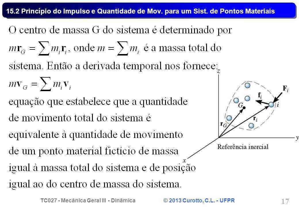 TC027 - Mecânica Geral III - Dinâmica © 2013 Curotto, C.L. - UFPR 17 15.2 Princípio do Impulso e Quantidade de Mov. para um Sist. de Pontos Materiais