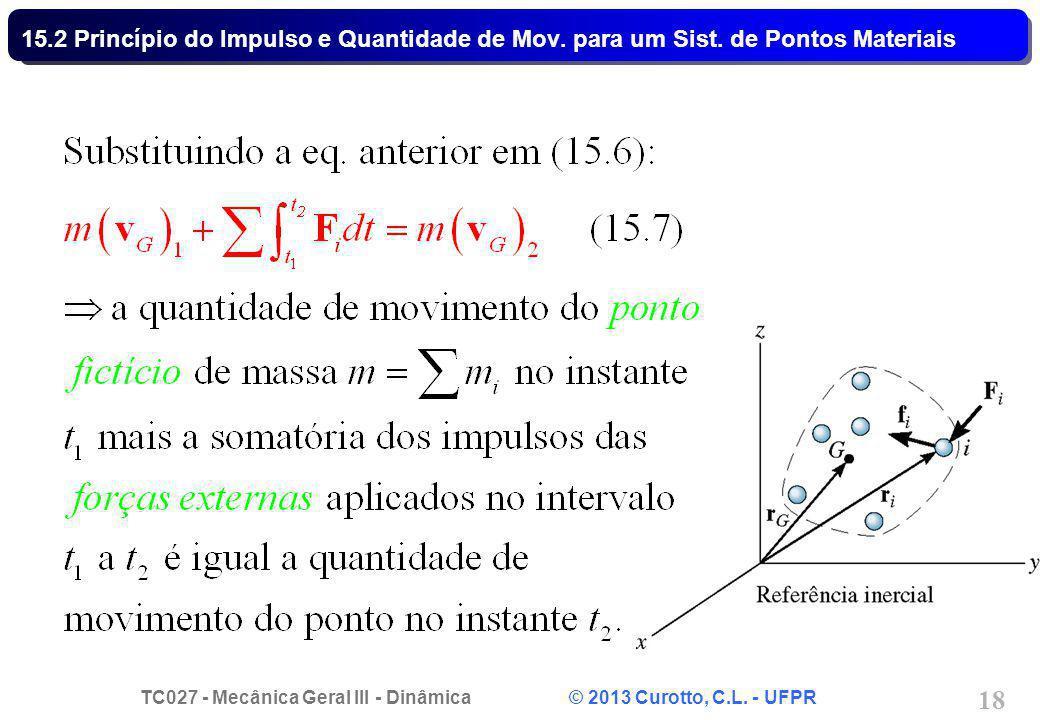 TC027 - Mecânica Geral III - Dinâmica © 2013 Curotto, C.L. - UFPR 18 15.2 Princípio do Impulso e Quantidade de Mov. para um Sist. de Pontos Materiais