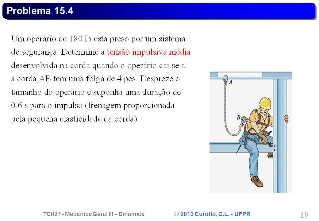 TC027 - Mecânica Geral III - Dinâmica © 2013 Curotto, C.L. - UFPR 19 Problema 15.4