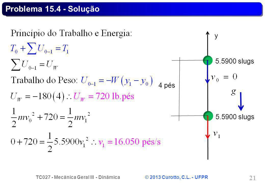 TC027 - Mecânica Geral III - Dinâmica © 2013 Curotto, C.L. - UFPR 21 Problema 15.4 - Solução 5.5900 slugs y 4 pés