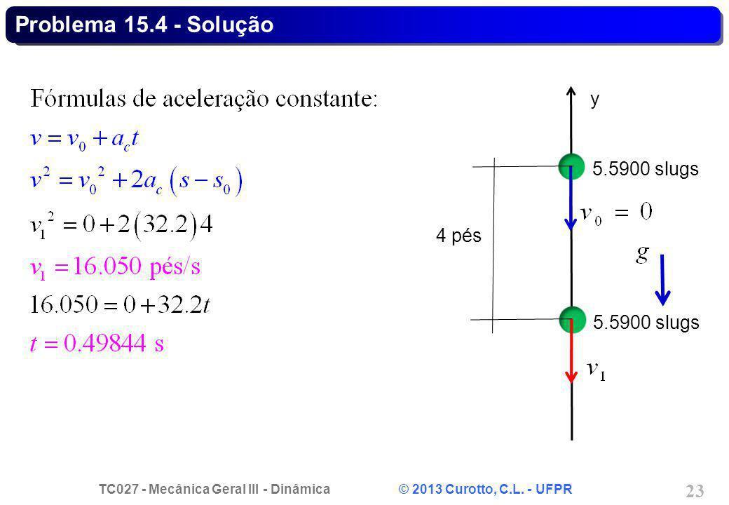 TC027 - Mecânica Geral III - Dinâmica © 2013 Curotto, C.L. - UFPR 23 Problema 15.4 - Solução 5.5900 slugs y 4 pés