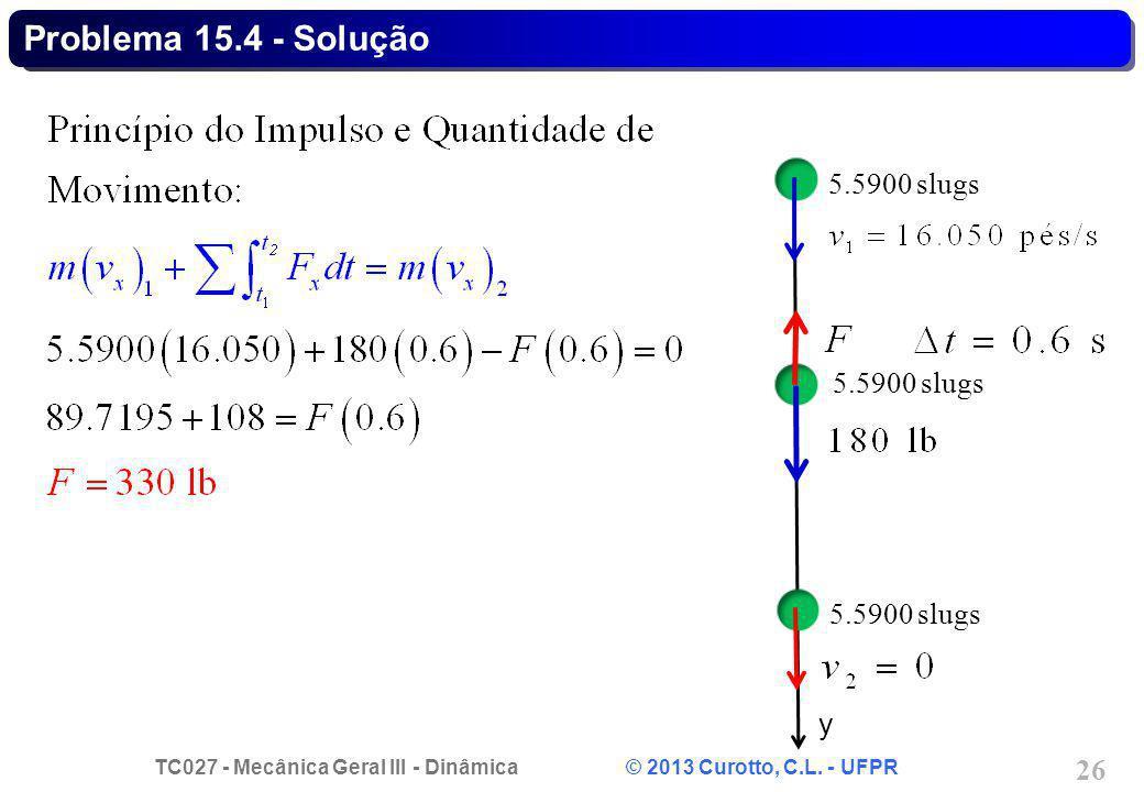 TC027 - Mecânica Geral III - Dinâmica © 2013 Curotto, C.L. - UFPR 26 Problema 15.4 - Solução 5.5900 slugs y