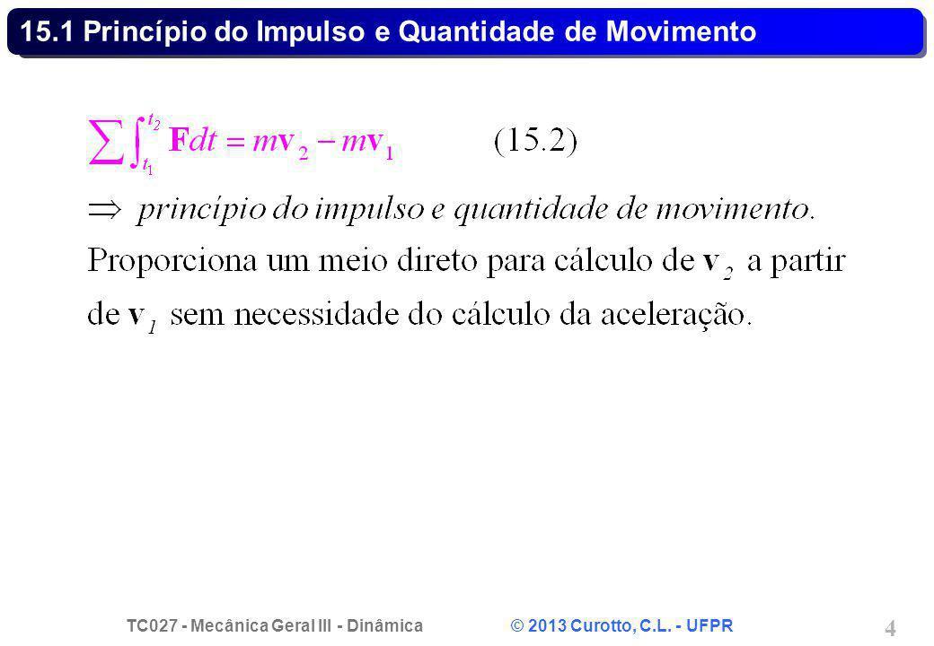 TC027 - Mecânica Geral III - Dinâmica © 2013 Curotto, C.L. - UFPR 4 15.1 Princípio do Impulso e Quantidade de Movimento