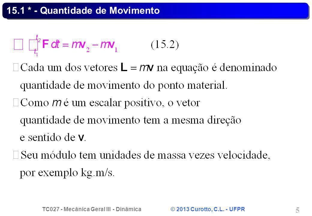 TC027 - Mecânica Geral III - Dinâmica © 2013 Curotto, C.L. - UFPR 5 15.1 * - Quantidade de Movimento